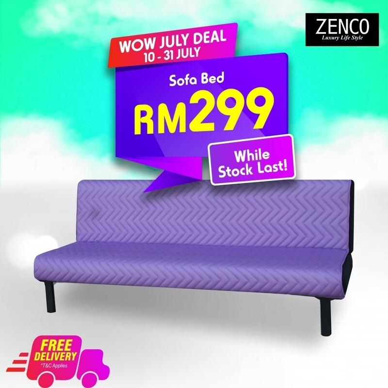 Modern Sofa Bed with FREE cushion - Purple
