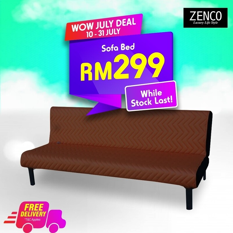 Modern Sofa Bed with FREE cushion - Brown