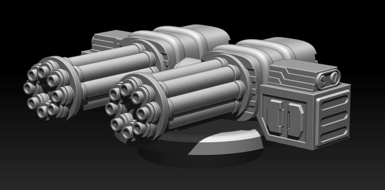 28mm Heroic Scale Twin Chaingun Turret