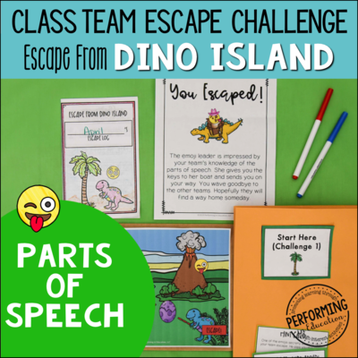 Parts of Speech Review Game: Escape from Dino Island Grammar Escape Room