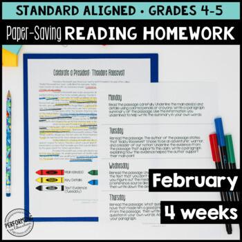 February Reading Homework for 4th & 5th PAPER SAVING Presidents