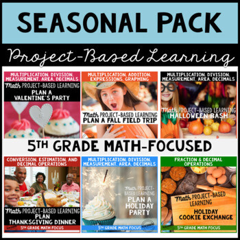 Project Based Learning Math Seasonal Bundle for 5th Grade