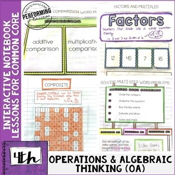 Interactive Math Notebook 4th Grade Operations & Algebraic Thinking OA