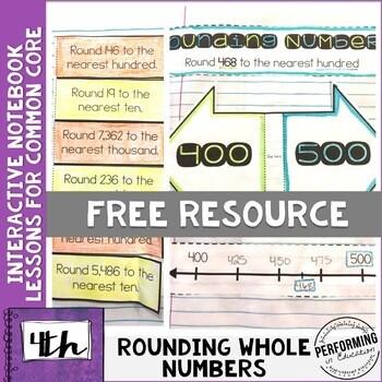 Rounding 4th Grade Interactive Math Notebook NBT Freebie