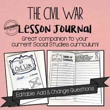 Civil War Journal for 4th and 5th grade EDITABLE Social Studies