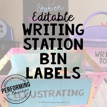 Writing Station Bin Labels FREE