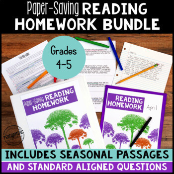 Paper Saving Reading Homework or Reading Test Prep for 4th & 5th YEAR LONG BUNDLE