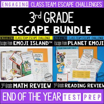 Test Prep Escape Room for 3rd Grade Bundle: Reading & Math Challenges
