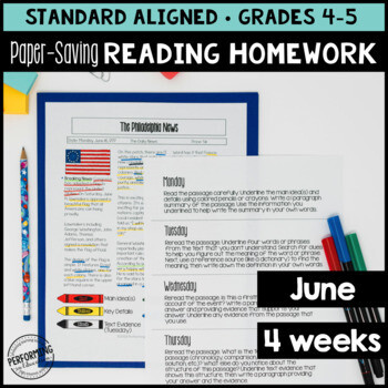 June Reading Homework for 4th & 5th PAPER-SAVING color text-based evidence