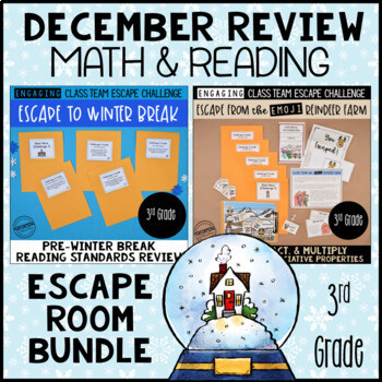 3rd Grade Winter Escape Room | Reading and Math Review Game Bundle