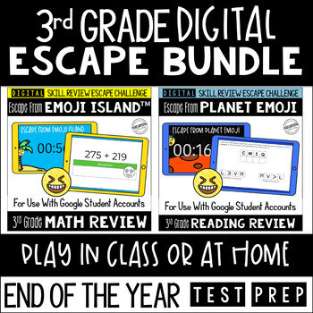 Digital Escape Room Math and Reading Review End of Year | 3rd Grade Bundle