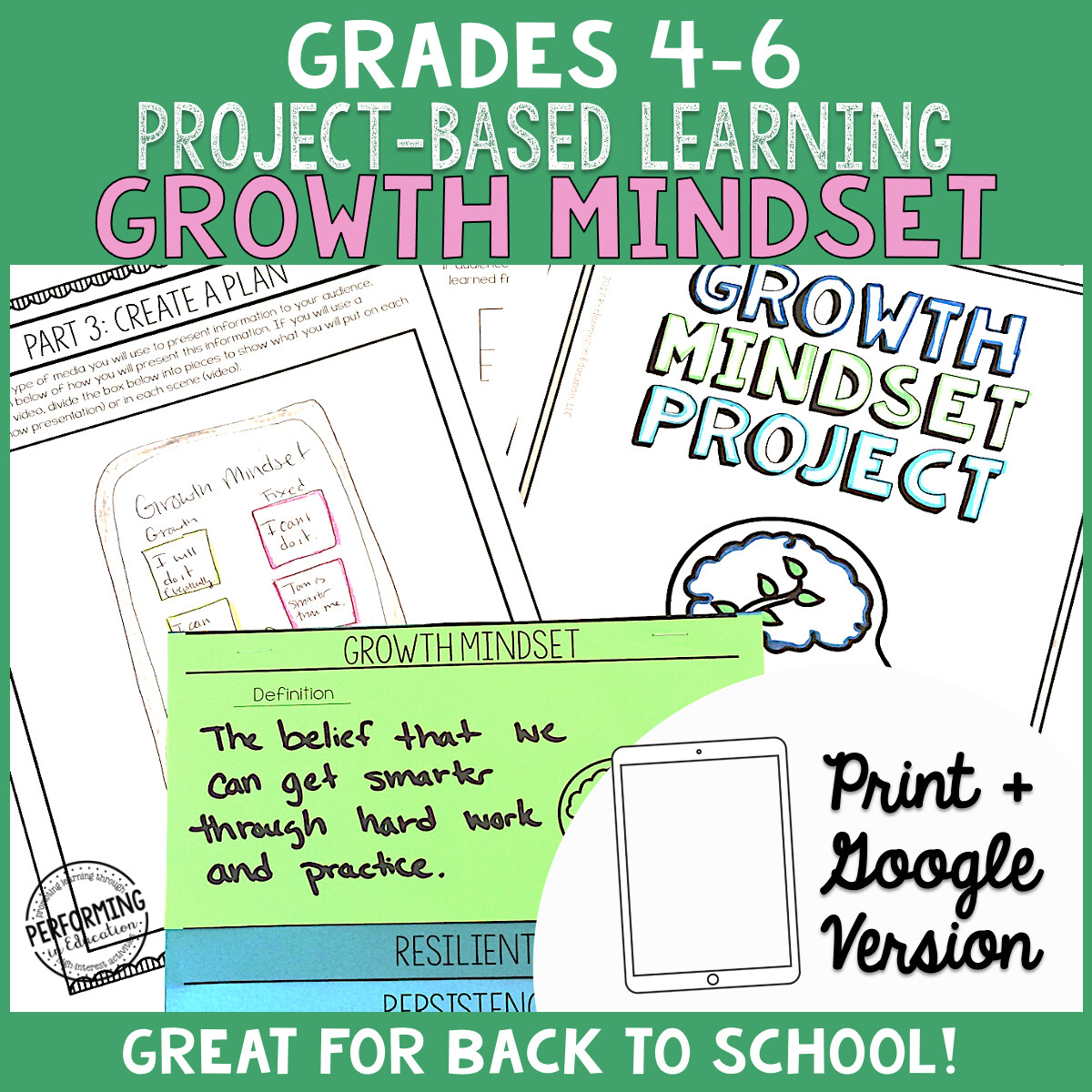Growth Mindset ELA Project Based Learning Back to School Activity 4th 5th 6th