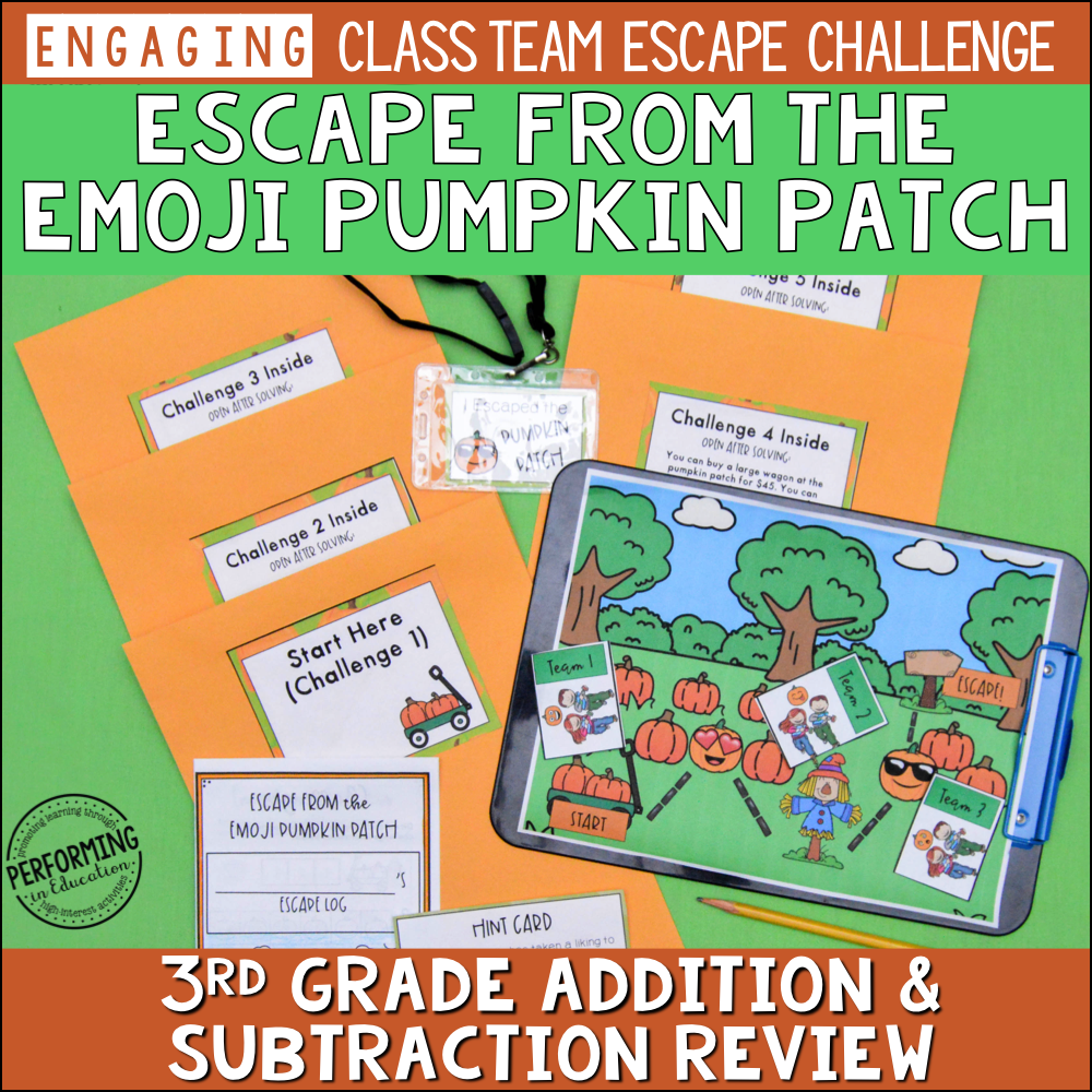 3rd Grade Addition & Subtraction Review | Pumpkin-Themed Fall Escape Game