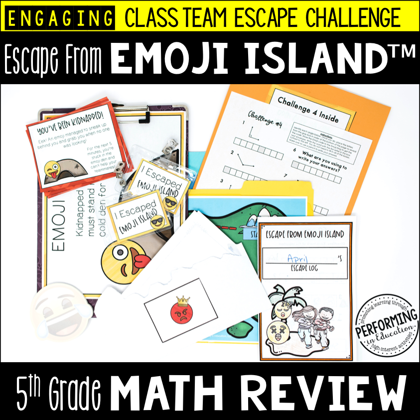 5th Grade Escape from Emoji Island®   Math Test Prep Escape Room