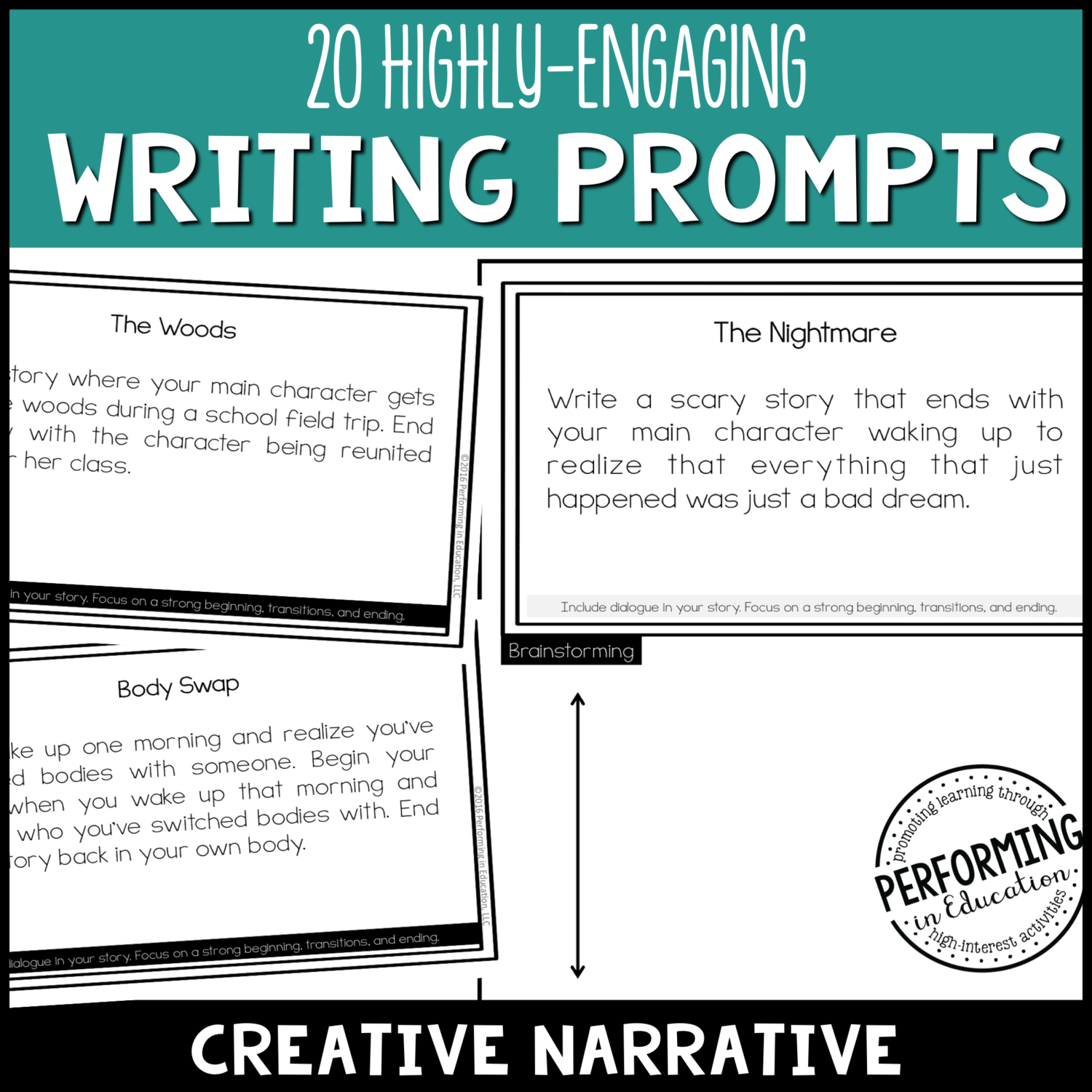 Creative Narrative Writing Prompts (Print & Digital)