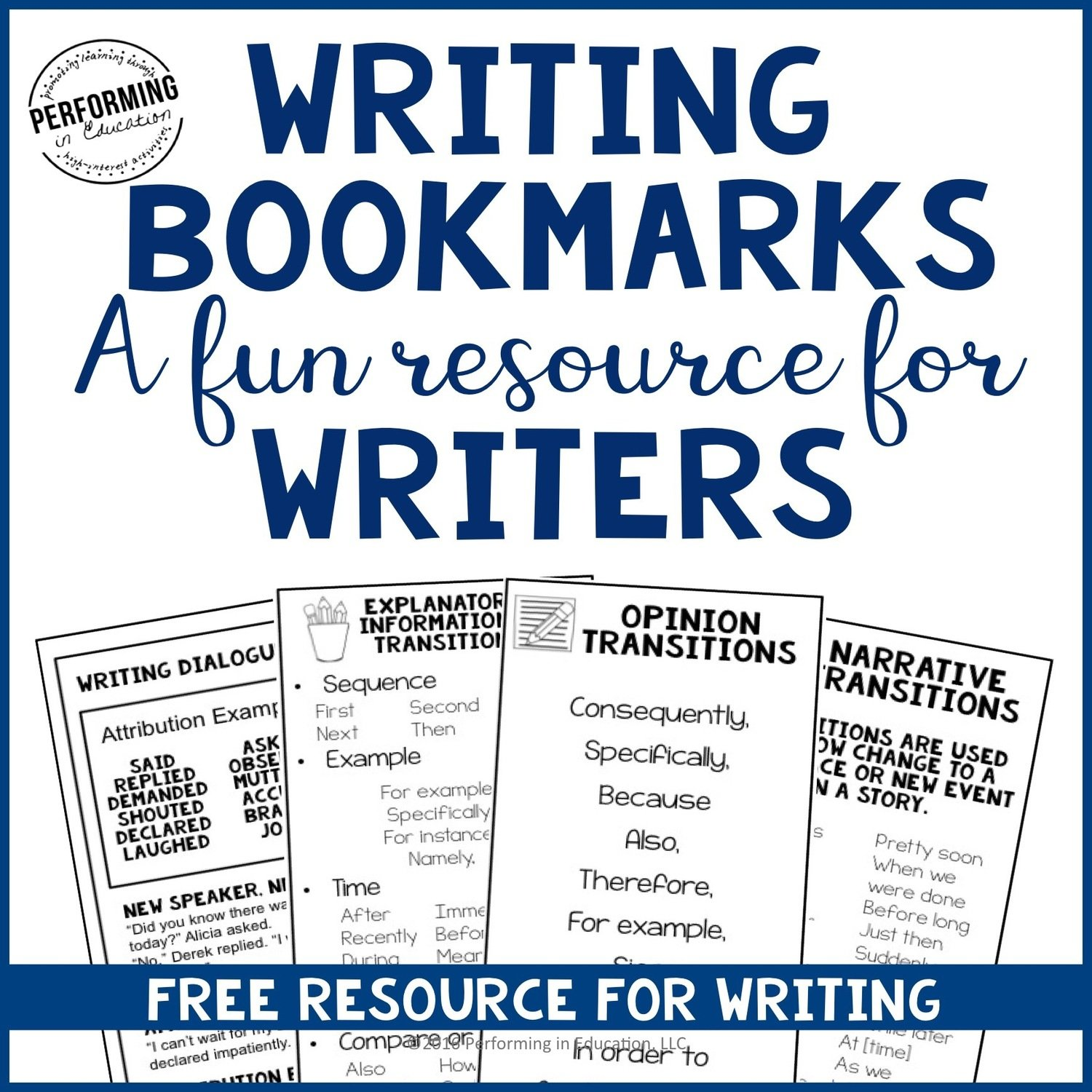 ADD-ON Free Writing Bookmarks