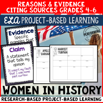 Grades 4-6: ELA Project Based Learning: Women in History - Supporting opinions using reasons