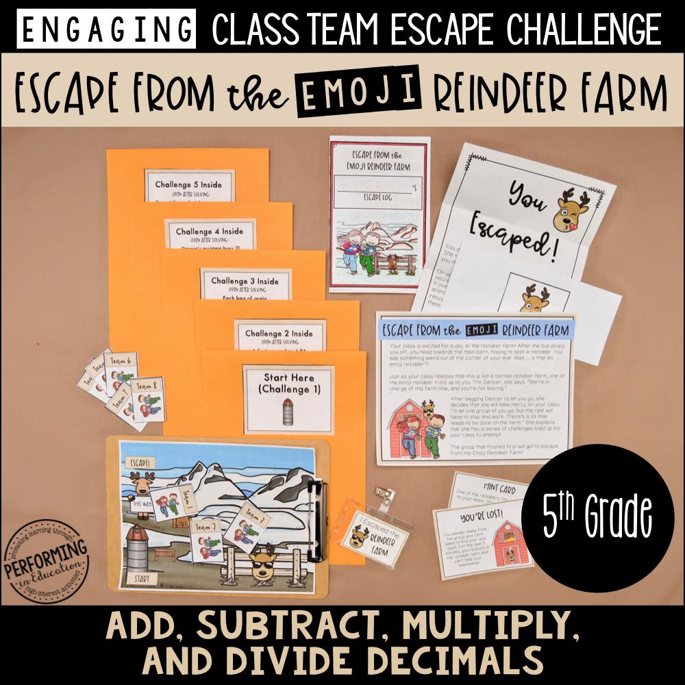 5th Grade Winter Escape Room (Math Review) Escape the Emoji Reindeer Farm!