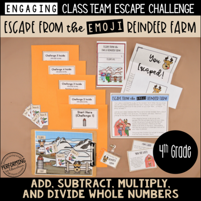 4th Grade Winter Escape Room (Math Review) Escape the Emoji Reindeer Farm!
