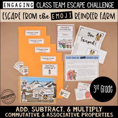 3rd Grade Winter Escape Room (Math Review) | Escape the Emoji Reindeer Farm!
