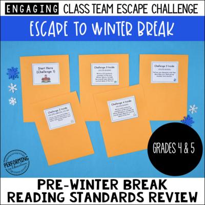 4th & 5th Grade Grade Escape to Winter Break! Reading Escape Room