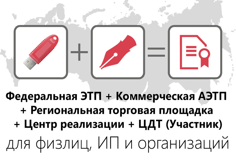 Федеральная ЭТП + Коммерческая АЭТП + Региональная торговая площадка + Центр реализации + ЦДТ (Участник)