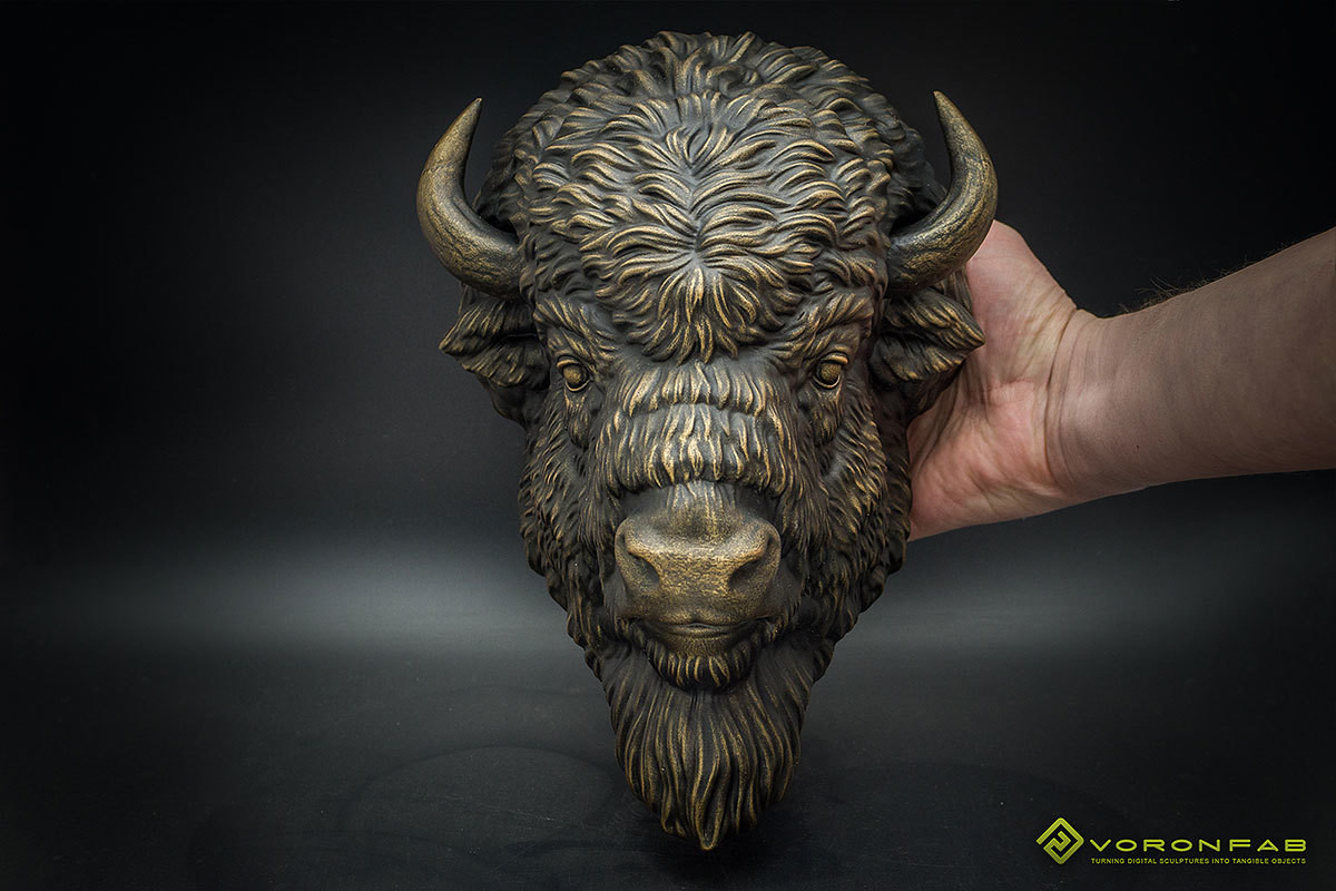 American Bison animal portrait wall sculpture