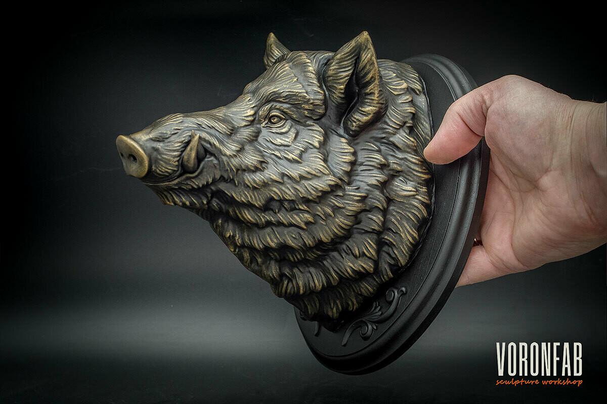 Small Wild Boar head sculpture, faux taxidermy