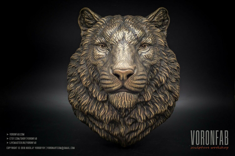 Tiger portrait animal head wall sculpture