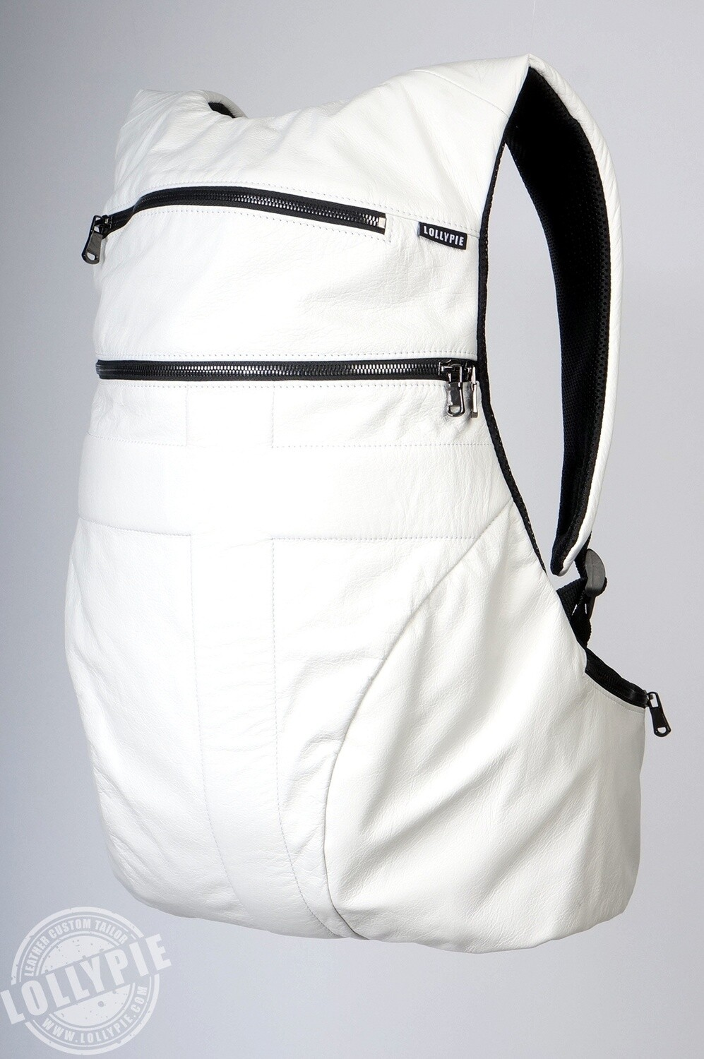 Anatomical White Genuine Leather Backpack