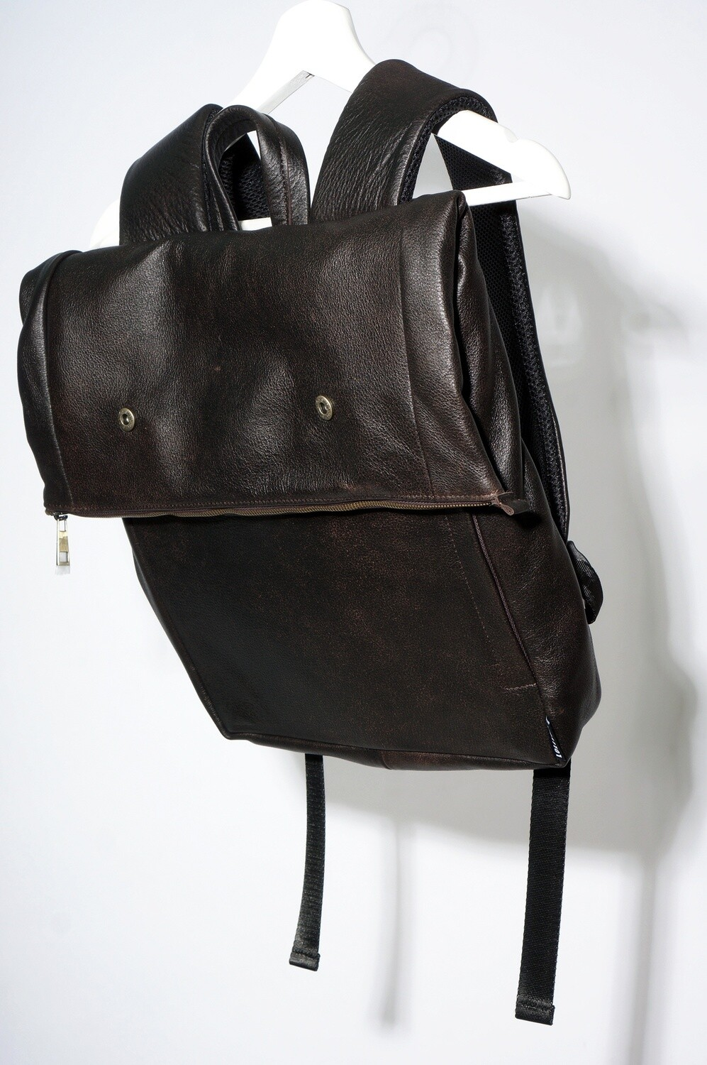Brown Leather Backpack-twist