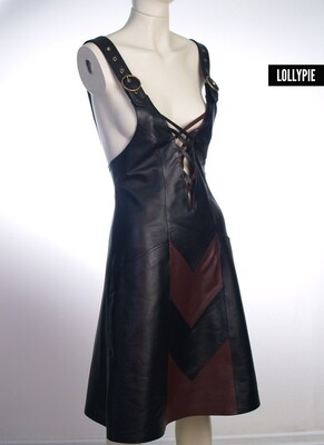 Examples of dresses made of leather and textile