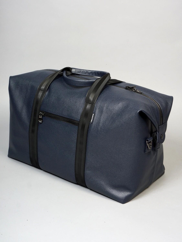Sports bag genuine blue leather