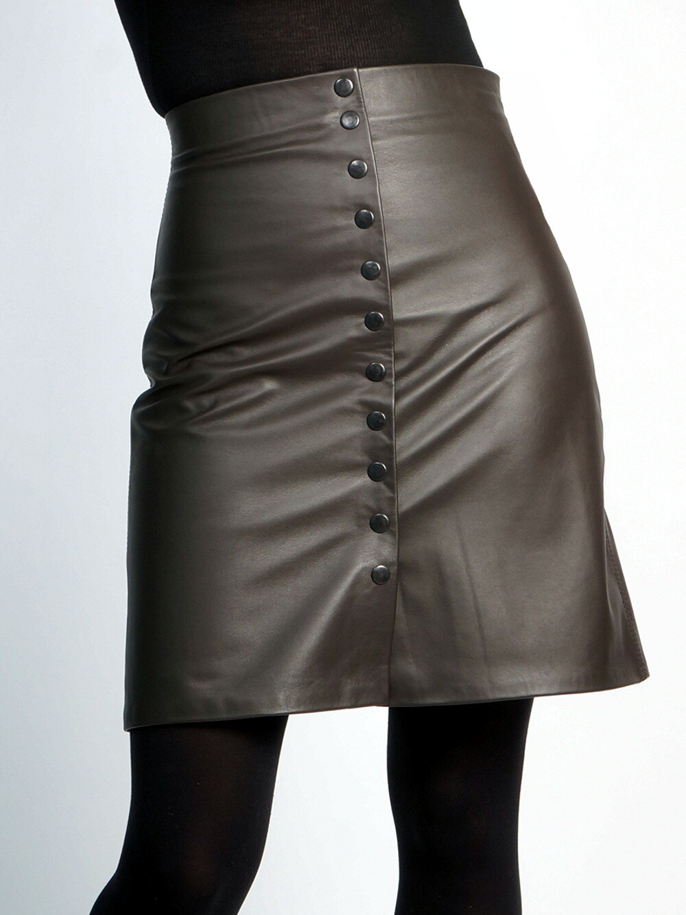 Leather skirt brown a-line with buttons