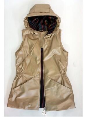 Leather Warmed Beige Vest Long