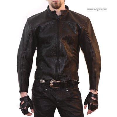 Men's black crocodile jacket
