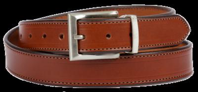 Bridle Leather Belt Stitched Dress Belt, Medium Brown