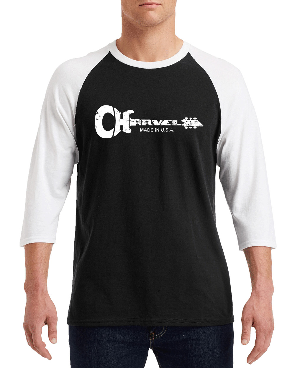 "CHARVEL GUITARS White Distress Logo Gildan G570 3/4 Sleeve Shirt ""FREE SHIPPING"""