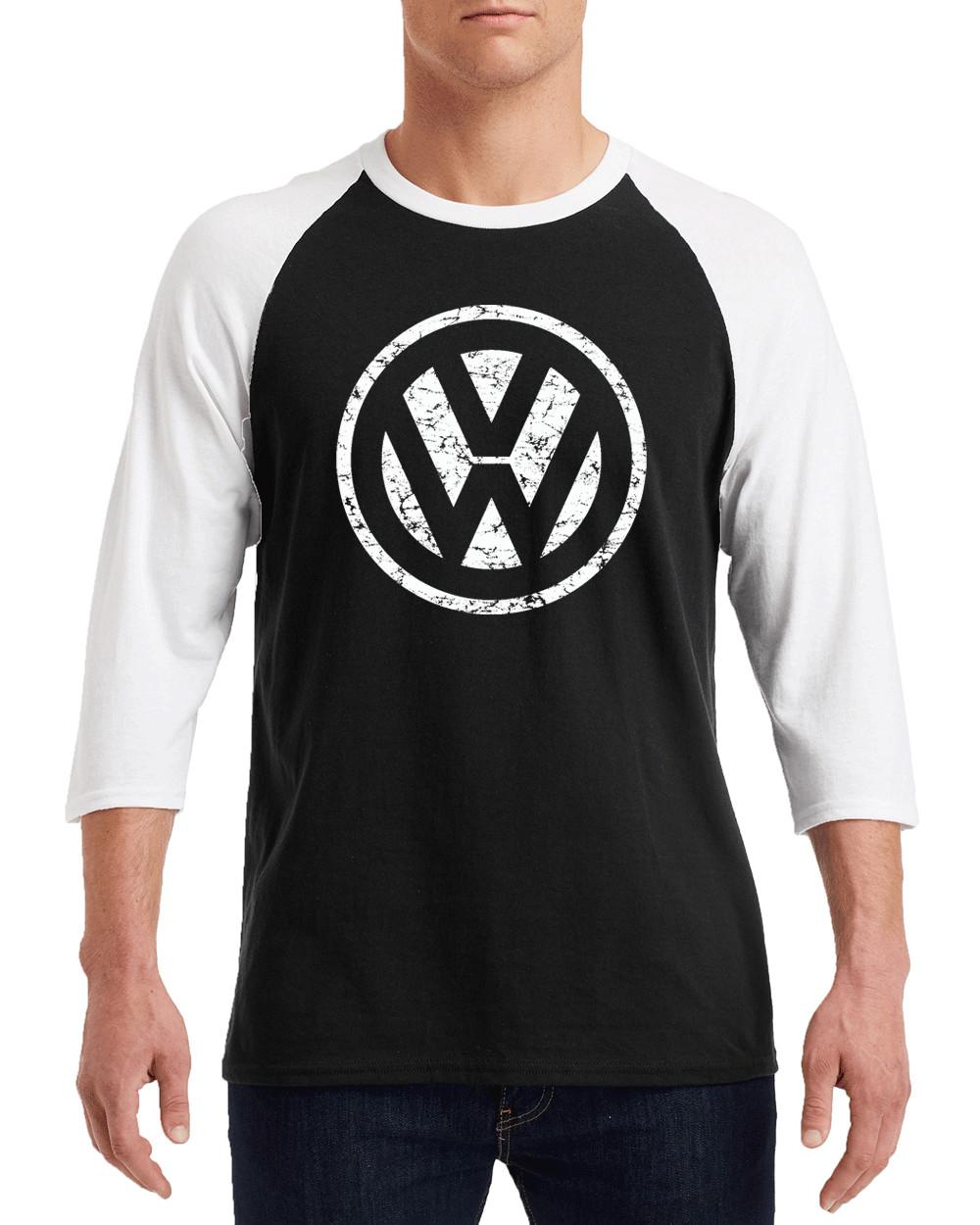 "VOLKSWAGON VW WHITE Logo Gildan G570 3/4 Sleeve Shirt ""FREE SHIPPING"""