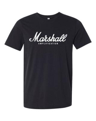 Marshall Amplification White Distress Logo Bella Canvas T-shirt