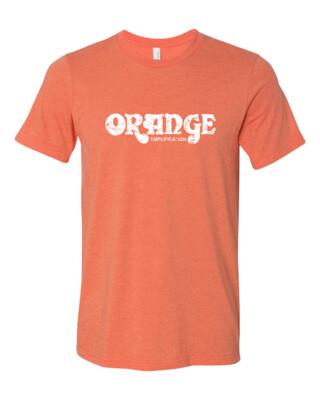 ORANGE AMPLIFICATION White Distress Logo Bella Canvas T-shirt