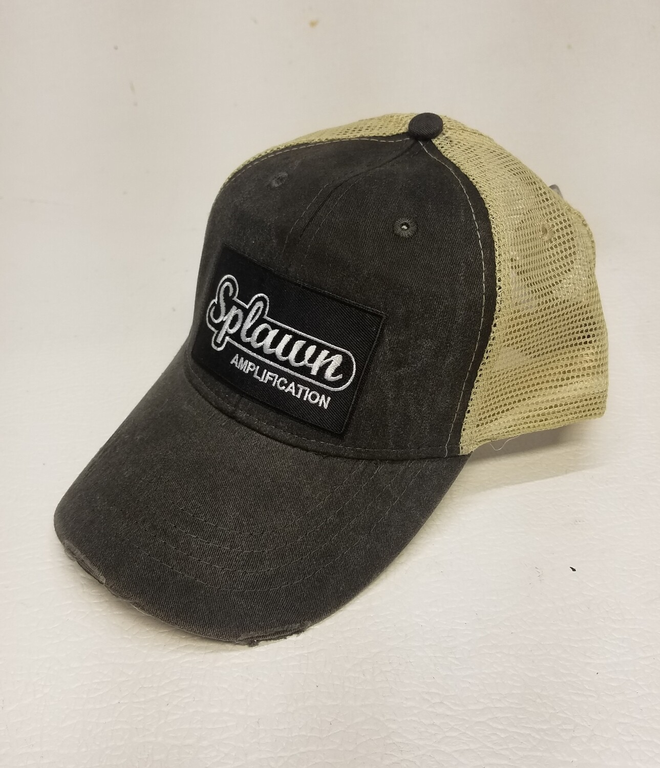 Splawn Amplification Trucker Cap Adams Black with Tan Mesh Vintage Logo
