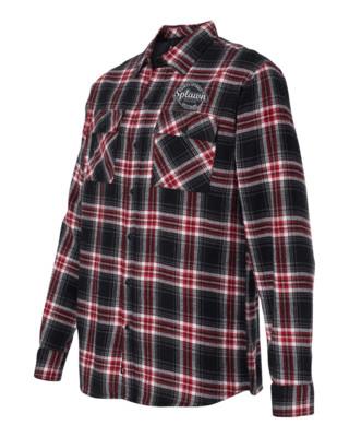 Splawn Amplification Logo Red BURNSIDE Flannel Long Sleeve Shirt