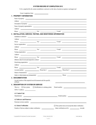 Fire Alarm Record of Completion Forms 2013