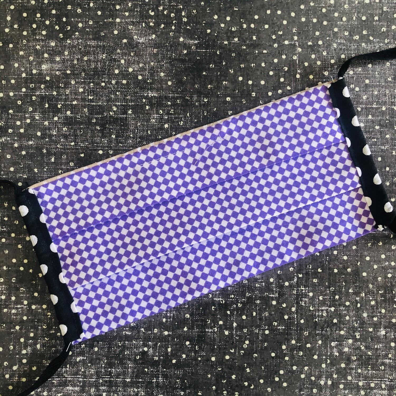 CHILD cotton face mask - Purple diamonds (one of a kind!)