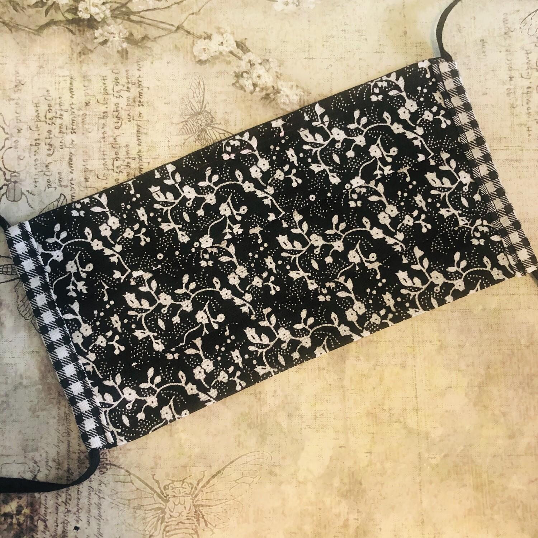 Cotton face mask - Floral, black