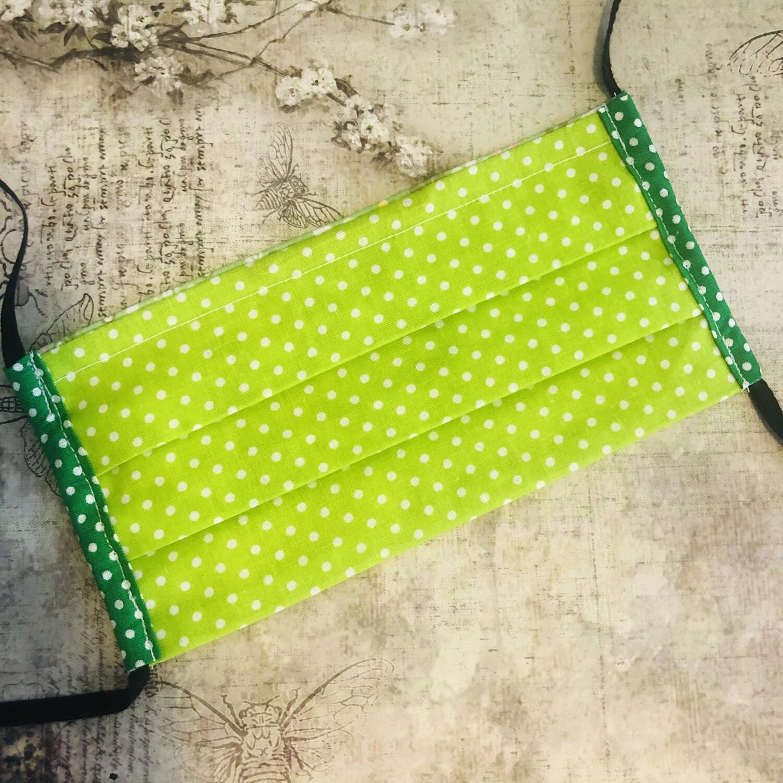 Cotton face mask - Polkadots, lime green