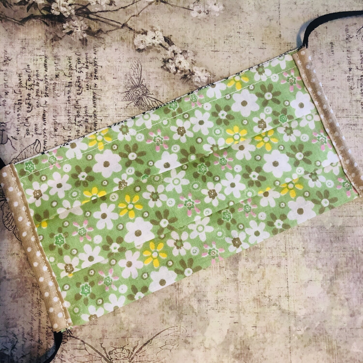 Cotton face mask - Floral, green