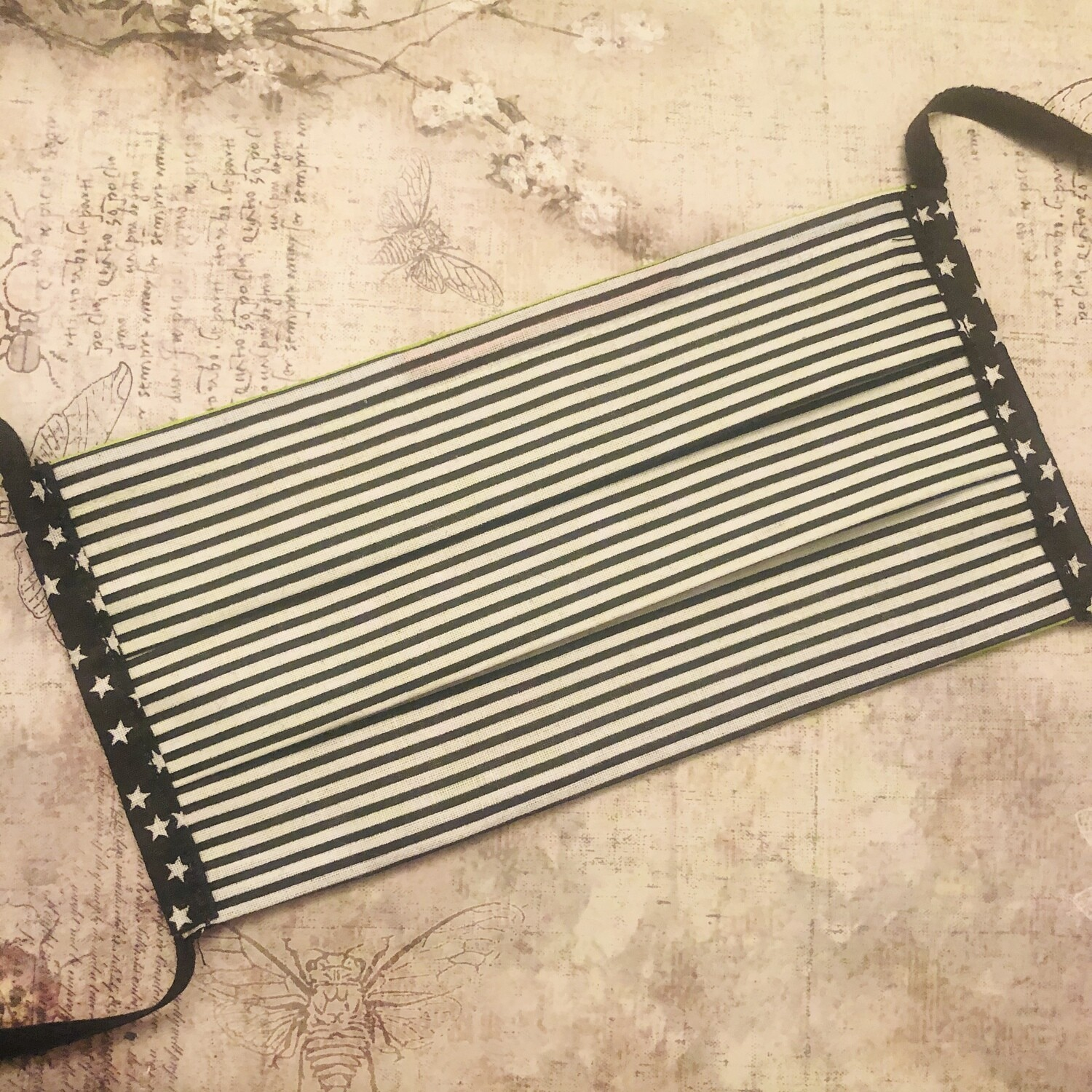 Cotton face mask - Stripes, black and white