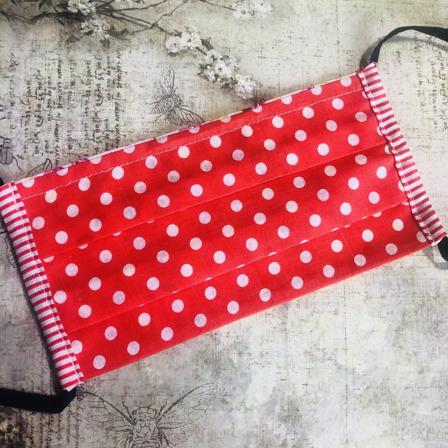 Cotton face mask - Polkadot, red (striped trim)
